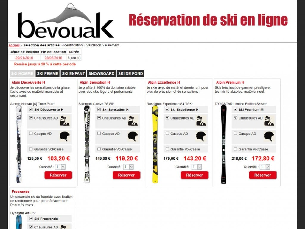 Module de réservation de ski et VTT en ligne